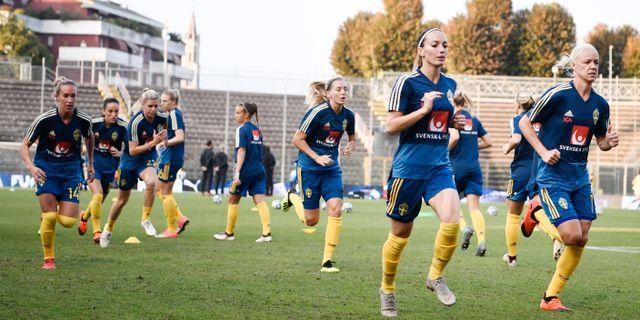 Fotbollslandslaget värmer upp inför en match.  Erik Simander/TT / TT NYHETSBYRÅN