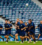 Det svenska laget tränar i Glasgow.  LUDVIG THUNMAN / BILDBYRÅN