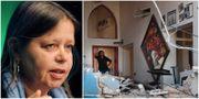 Bitte Hammargren/En kvinna står i en raserad restaurang i Beirut  TT