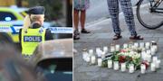 Polis på mordplatsen och ljus till den mördade kvinnans minne. TT
