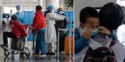 Resenärer på flygplatsen i Peking. TT