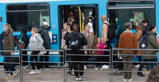 Gott om folk i Oslos kollektivtrafik. Terje Bendiksby / TT NYHETSBYRÅN