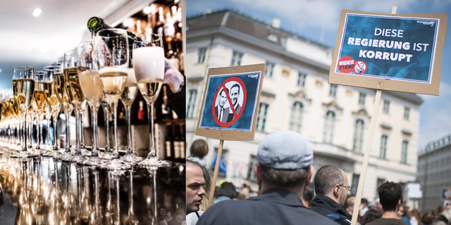 Människor demonstrerar efter den politiska skandalen i Österrike.  TT