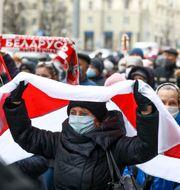 Demonstranter i Minsk. TT NYHETSBYRÅN