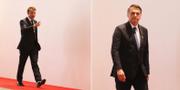 Emmanuel Macron och Jair Bolsonaro. TT.