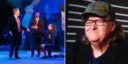 Bild på Julius Caesar-pjäsen och Michael Moore. TT