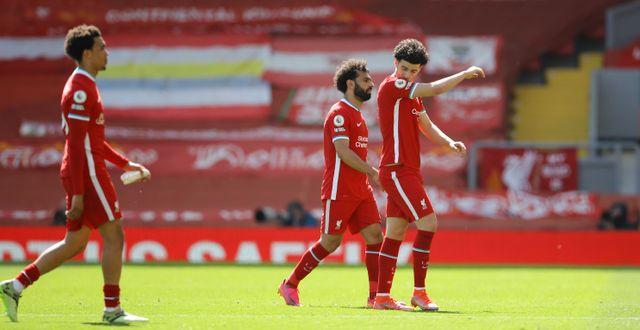 Liverpoolspelarna, med Mohamed Salah i mitten, lämnar planen efter matchen mot Newcastle i helgen.  David Klein / TT NYHETSBYRÅN