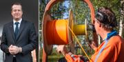 Anders Ygeman och installation av fiber för bredband vid en fastighet i Piteå. TT