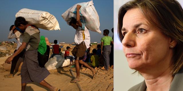 Rohingyer i ett flyktingläger i Bangladesh. Biståndsminister Isabella Lövin (MP). TT