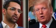 Mohammad Javad Azari-Jahromi och Donald Trump. Arkivbilder. TT