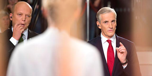 Arbeiderpartiets ledare Jonas Gahr Støre under debatten.  Hommedal, Marit / TT NYHETSBYRÅN