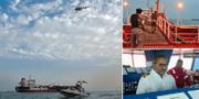 Bilder från övertagandet av fartyget. I det nedersta högra hörnet ses fartygets kapten. TT