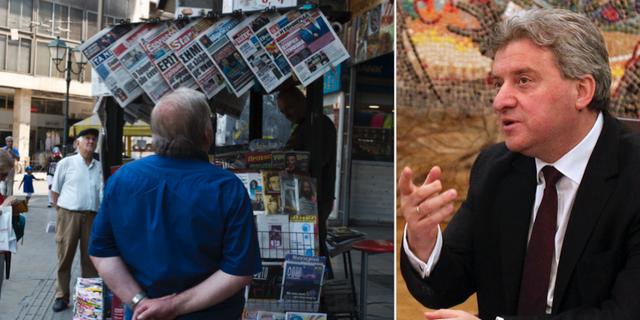 Grekiska tidningar rapporterar om namnöverenskommelsen/Makedoniens president Gjorge Ivanov. TT