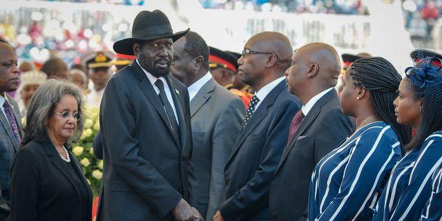Sydsudans president Salva Kiir under den tidigare kenyanske presidenten Daniel arap Mois begravning i februari. John Muchucha / TT NYHETSBYRÅN