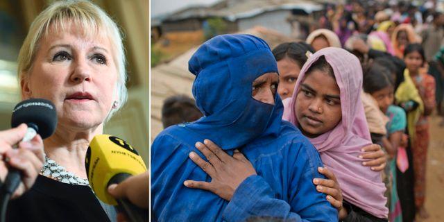 Margot Wallström. Till höger: Rohingya i flyktingläger i Bangladesh.  TT