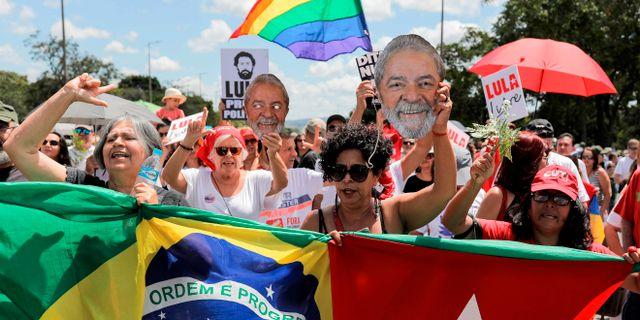 Bild från protesterna i Brasilia. SERGIO LIMA / AFP