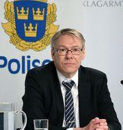 Chefsåklagare Krister Petersson under pressträffen.  Polisen / TT NYHETSBYRÅN