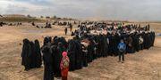 Civila som evakuerats från Baghouz väntar på att bli kontrollerade a SDF-styrkor.  BULENT KILIC / AFP