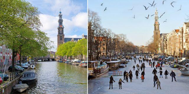 Nu kan du åka skridskor på kanalerna i Amsterdam. Thinkstock / Instagram