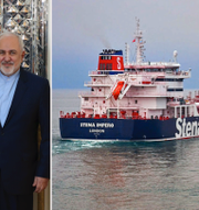 Jeremy Hunt och Mohammed Javad Zarif under ett tidigare möte/det beslagtagna fartyget. TT