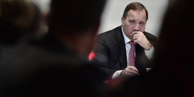 Stefan Löfven under en pressträff igår. Stina Stjernkvist/TT / TT NYHETSBYRÅN