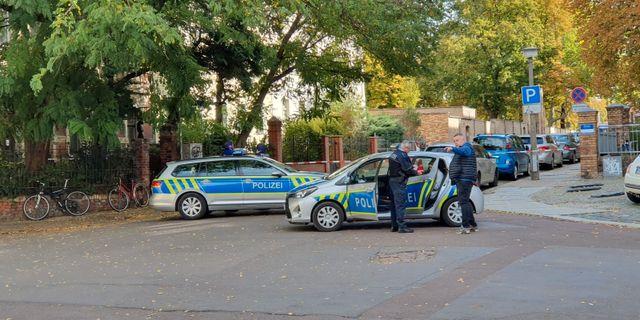 Polisen i Halle.  STRINGER / TT NYHETSBYRÅN