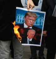Porträtt på Donald Trump och Joe Biden bränns i Iran.  Vahid Salemi / TT NYHETSBYRÅN
