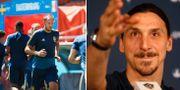 Svenska landslaget tränade på matcharenan på tisdagen. Till höger: Zlatan Ibrahimovic, arkivbild.  Bildbyrån /  JOEL MARKLUND/ TT