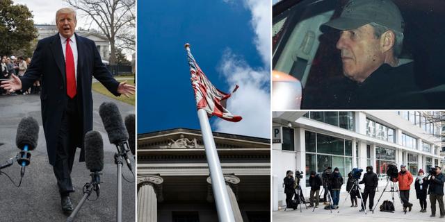 Donald Trump på fredagen (t v), USA:s justitiedepartement (mitten), Robert Mueller lämnar sitt kontor på torsdagen (övre t h), reportrar utanför kontoret (nedre t h). TT