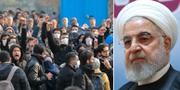Iranska studenter under en demonstrantion efter att planet skjutits ner/Hassan Rouhani. TT
