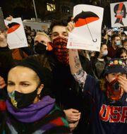 Demonstranter utanför Jaroslaw Kaczynskis hem. Czarek Sokolowski / TT NYHETSBYRÅN