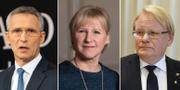 Natos generalsekreterare Jens Stoltenberg, utrikesminister Margot Wallström (S) och försvarsminister Peter Hultqvist (S). TT