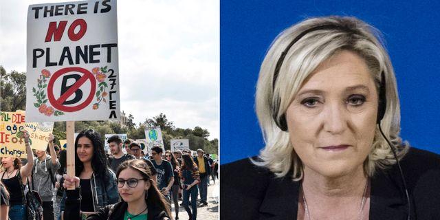 Elever klimatstrejkar i Aten, Marine Le Pen från det franska högernationalistiska partiet Nationell samling.  TT