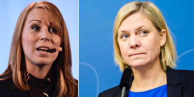 Annie Lööf och Magdalena Andersson. TT