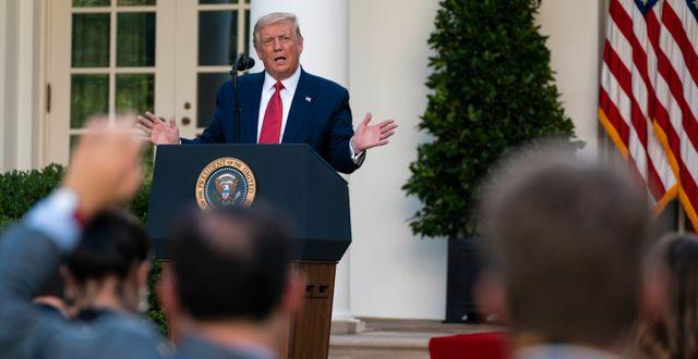 Trump på pressträffen.  Evan Vucci / TT NYHETSBYRÅN
