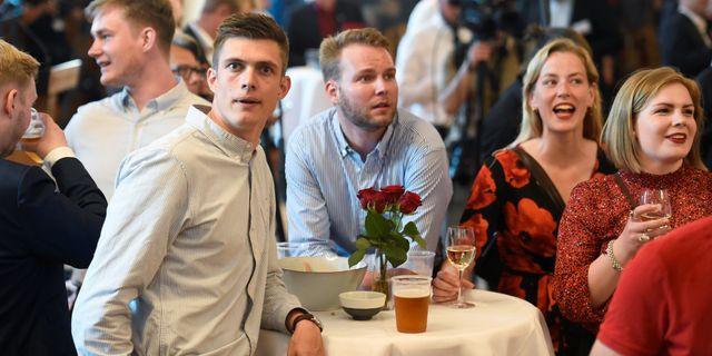 De danska Socialdemokraternas valvaka. FABIAN BIMMER / TT NYHETSBYRÅN