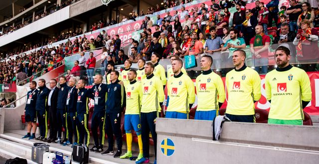 Sveriges bänk under en träningsmatch i fotboll mellan Portugal och Sverige den 28 mars 2017 PETTER ARVIDSON / BILDBYRÅN