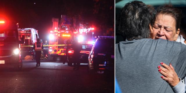 Bilder från en masskjutning i Kalifornien. TT