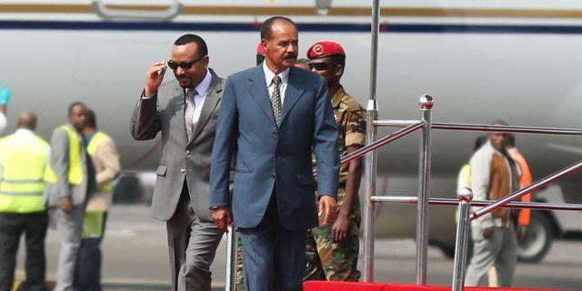 Eritreas president Isaias Afwerki har landat i Etiopien. TIKSA NEGERI / TT NYHETSBYRÅN