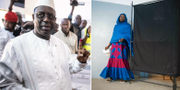 Senegals president Macky Sall och en kvinna som röstar i Senegal TT