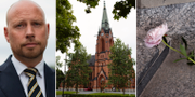 Hans Lindberg (S), Umeå Stads Kyrka och blommor vid kyrkan.  TT