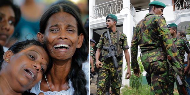 Sörjande anhöriga vid begravning för offren i terrordådet/Lankesisk polis i huvudstaden Colombo. TT