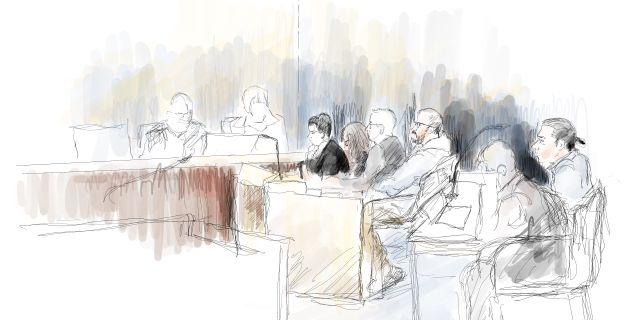 Teckning från rättegången mot de före detta Knutbypastorerna Ingela Landström/TT / TT NYHETSBYRÅN
