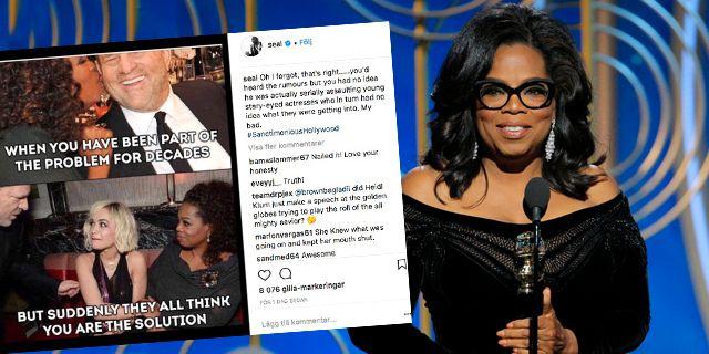 Seal går till hårt angrepp mot Oprah Winfrey på Instagram. TT