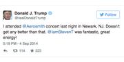 Förra året var Trump på Aerosmith-konsert. Twitter
