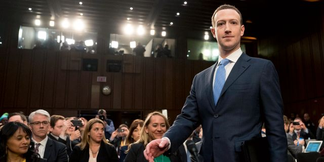 Mark Zuckerberg när han förhördes i USA:s kongress tidigare i vår.  Andrew Harnik / TT / NTB Scanpix
