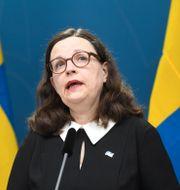 Anna Ekström på dagens pressträff. Fredrik Sandberg/TT / TT NYHETSBYRÅN