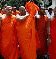 Galagoda Aththe Gnanasara, ledare för BBS under mötet i Kandy.  DINUKA LIYANAWATTE / TT NYHETSBYRÅN
