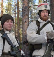 Evin Omari och Kennet Bengtsson från ledningsregementet i Enköping deltar i den stora Nato-övningen Trident Juncture 18 i Norge Tomas Bengtsson/TT / TT NYHETSBYRÅN