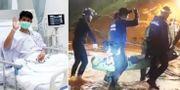 En av pojkarna på sjukhuset / bild från räddningsoperationen.  TT